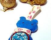 Hand Sewn Felt Teddy Bear Ornament Baby's 1st Christmas
