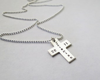 Personalized Mens Cross Necklace - Dad - Friend - Son - Brother - Baptism Gift - Confirmation - Godfather - Engraved - Father of Angel