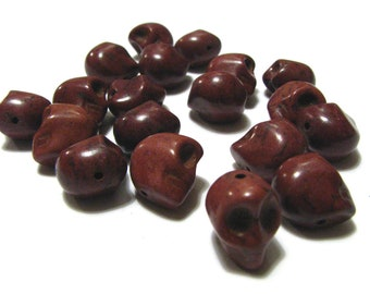 15 Chocolate Brown Day Of The Dead Sugar Skull Beads - Dyed Howlite Tuquoise - 1/2 Inch / 12mm