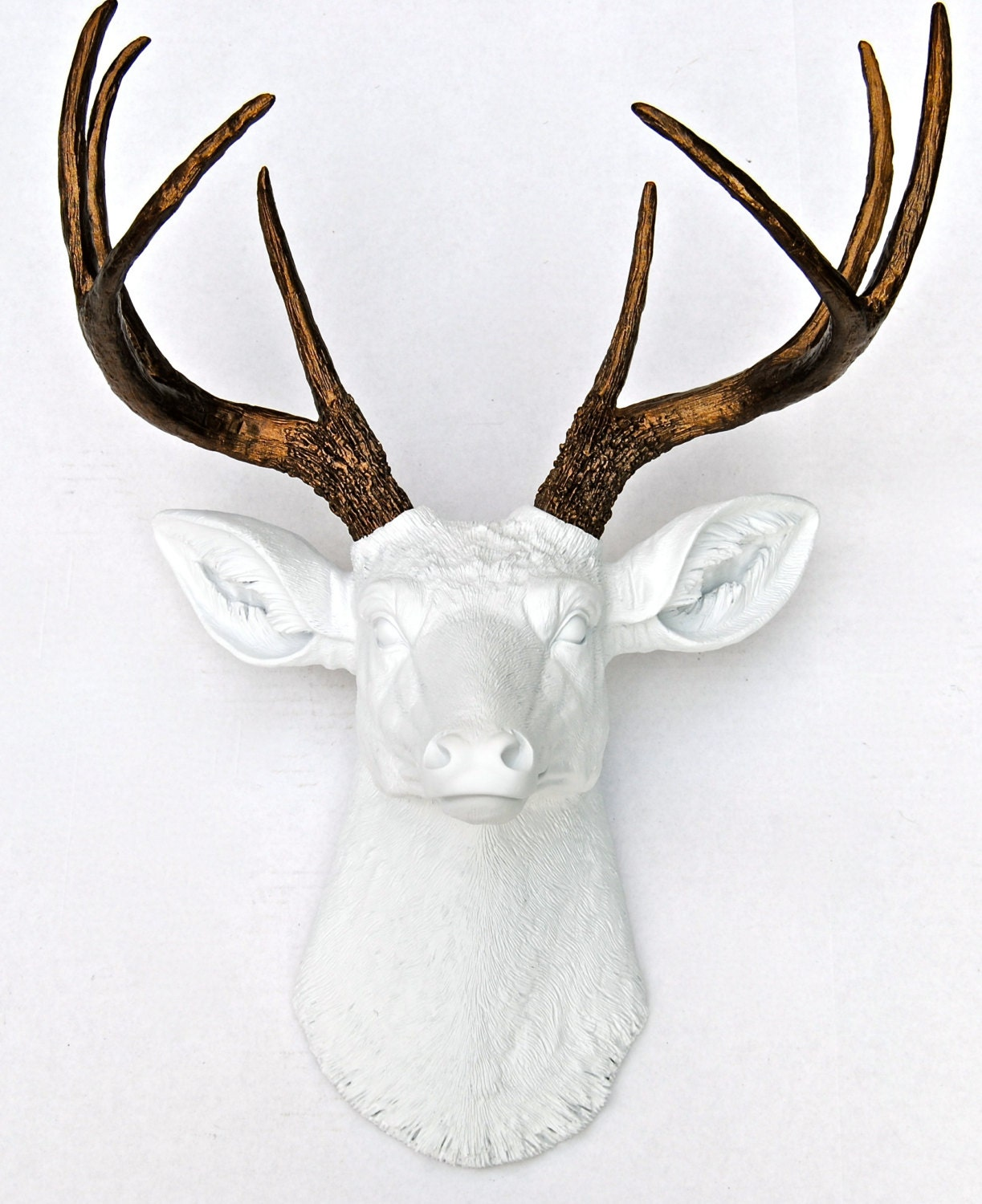 White and bronze faux deer head deer head antlers fake for Tete de fenetre decorative