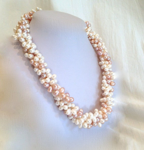 Freshwater Pearl Peach And Cream Torsade Necklace