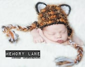 Fun and Fuzzy Tiger Kitty Crochet Earflap Hat - Newborn thru 12 Months Size