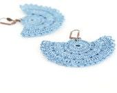 Crochet Bohemian Chic Dangle Earrings in Jean Blue Varnished Hippie Boho Gypsy Style Jewelry Strip Semicircle Geometric
