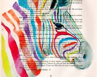 Art & Collectibles, painting ,Zebra colorful painting print Drawing Illustration Animal Giclee Posters Mixed Media wall decor Acrylic