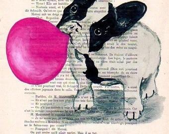 Bulldog with bubblegum, Bulldog Illustration,Bulldog Print, Bulldog Mixed Media, Bulldog Art,Bulldog Poster, Frenchie Illustration, Wall Art