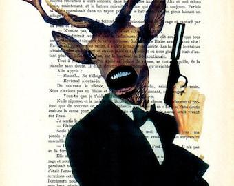Deer painting acrylic print posters Illustration Original Drawing Giclee Mixed Media Art digital typography: James Bond