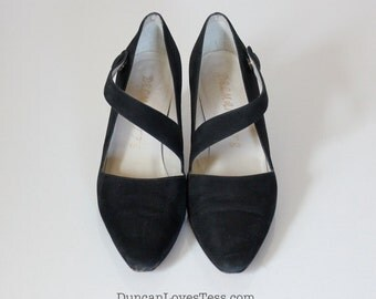 Vintage Black Suede Mary Jane Shoes