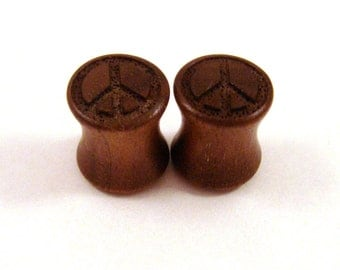 "Peace Sign Walnut Wooden Plugs 2g (6mm) through 1 3/4"" (44mm) including 0g (8mm) 00g 7/16"" 1/2"" 9/16"" 5/8"" 3/4"" 7/8"" symbol wood ear gauges"