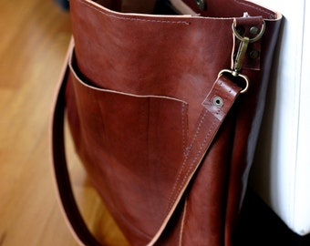 Leather shoulder bag - Unisex leather tote - handmade bag - leather bag - Made in Italy bag - leather tote bag - shoulder bag - tote bag