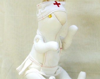 FREE SHIPING! New Price! White Rabbit Nurse, original,recycled textiles, 60 cm. movable arms legs and clothing that can be removed