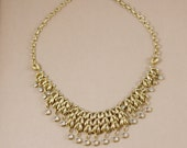clear crystal necklace gold bib