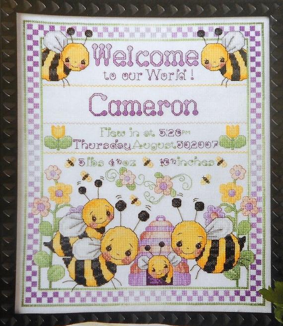 Donna Vermillion Giampa Bee Birth Sampler Baby Boy Stitchery