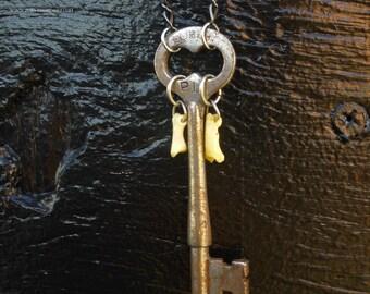 Vintage Skeleton Key Necklace Featuring Tiny Real Bones on Gunmetal Chain Steampunk  41