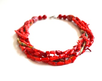 Red Coral & Paper Bead Layered Necklace