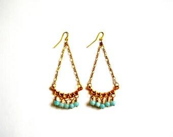Green & Gold Chandelier Earrings