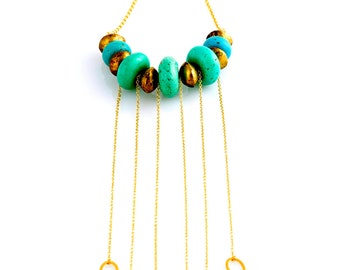 Turquoise & Gold Dangling Necklace