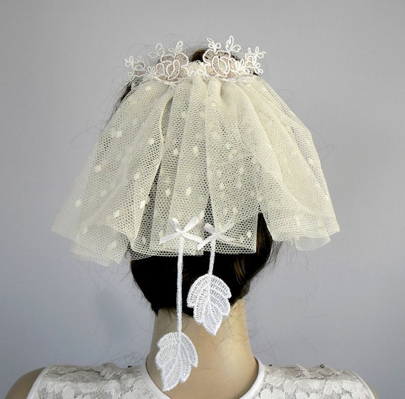 RESERVED for vmaid1 - Bridal Mini Tulle Veil, Unusual, Venetian Lace, Handmade, Unique Item