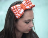 Knit Hair Bow and Bow Tie, Knitted Headband with Knit Bow, by Solandia, orange white, Winter Fashion