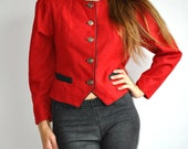 Vintage Red Jacket Blazer with Metal Buttons