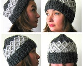 Textured charcoal crochet beanie, unisex fashions, mens womens slouchy hat, w charity donation.