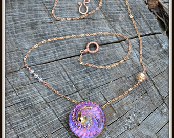Glass Button Necklace handmade bright pink purple and copper jewelry gift