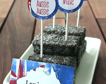 Australia Day Party Labels - INSTANT DOWNLOAD - Editable & Printable Decorations by Sassaby Parties