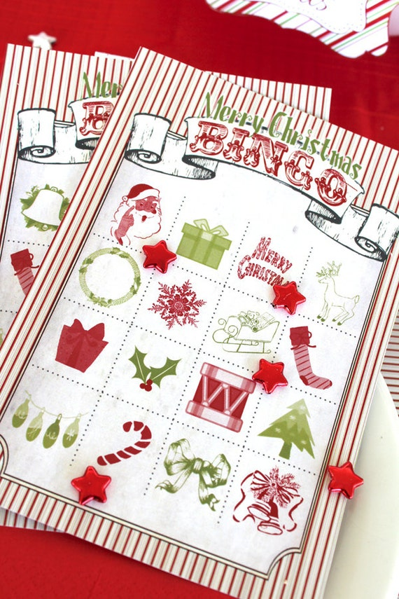 Christmas Bingo - Small - INSTANT DOWNLOAD - Printable Xmas Party Games Decorations by Sassaby