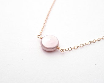 Dainty Magnolia Pearl Necklace - Coin Pearl - 14k Gold Fill or Sterling Silver