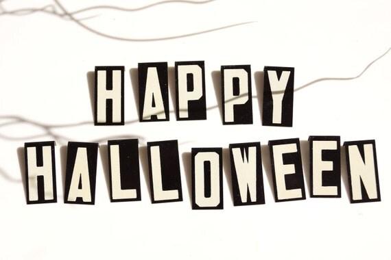 Vintage Metal Sign Letters Happy Halloween 1-1/2