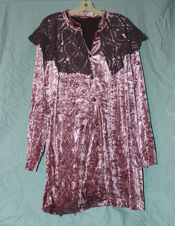 Purple Crush Jacket Plus Size 2x 3x Crushed Velvet Dusty Ice Pink  Doiley Crochet Altered Clothing Upcycled Boho