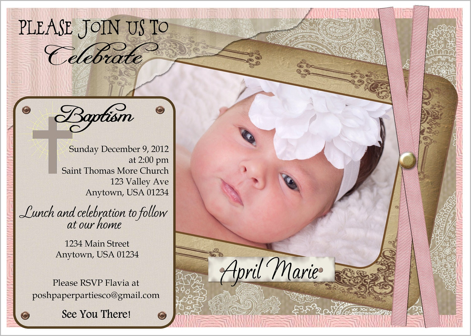 Diy baptism invitations christening background best baby girl the best christmaschristmas stopboris Gallery