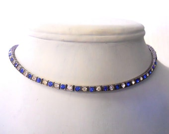 Vintage choker necklace blue and clear rhinestones stunning design