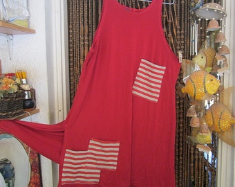Red & White Long Vest Top Tunic / Summer Dress, Appliquéd with Decorative Striped Pockets, Vintage - Large to X-Large