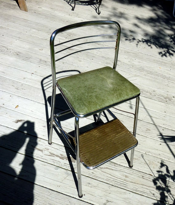 50s Cosco Kitchen Chair Step Stool Gray Green Seat Vintage