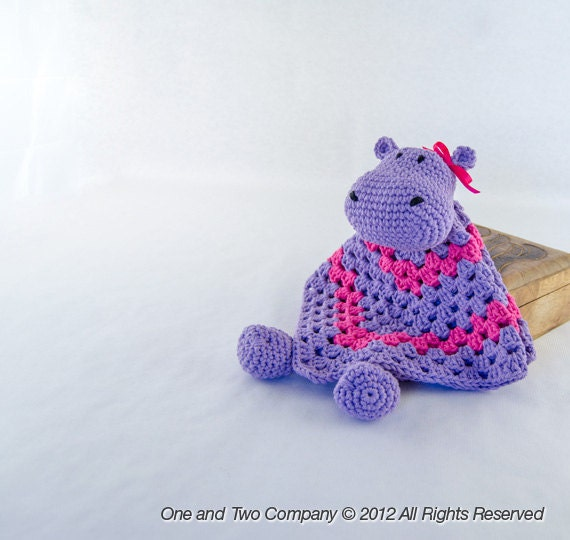 Instant Download - PDF Crochet Pattern - Hippo Security Blanket - Text instructions and SYMBOL CHART instructions