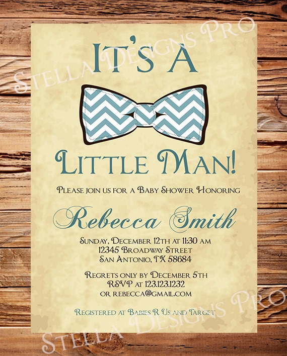 little man baby shower invitation boy bowtie boy shower
