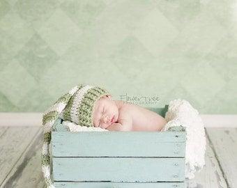 Newborn Santa Hat, Newborn Stocking Cap, Longtail Hat, Green And White Hat, Newborn Striped Hat, Newborn Photo Prop, Crochet Baby Hat
