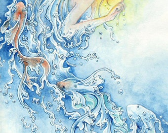 "Fantasy Art Print ""Water Element"" in 3 Paper Sizes"