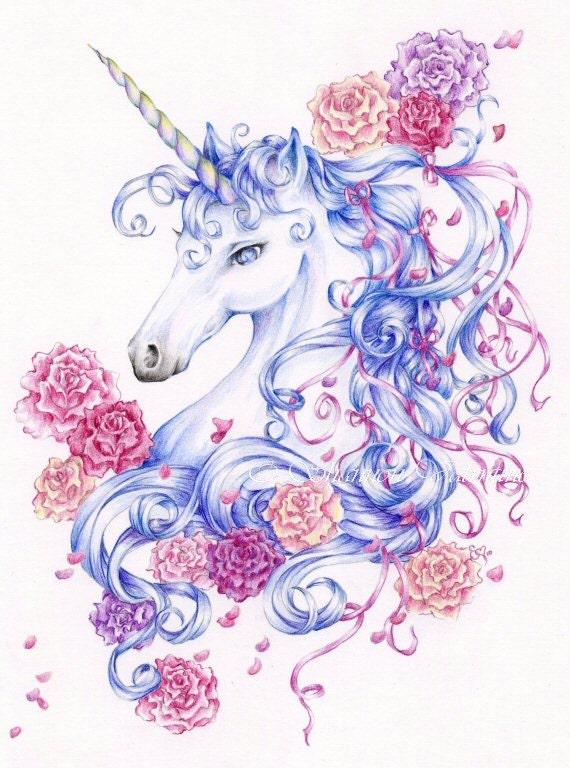 5x7 Fantasy Unicorn Art Print Ribbons