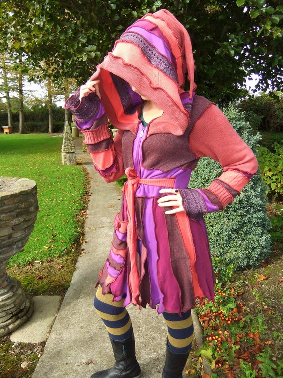 SALE - Pink Purple Pixie Coat- One of a Kind - XL Large - Ready to Ship