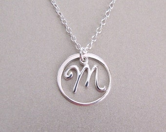 Circle Script Initial Necklace - Personalized Necklace - Monogram Jewelry - Initial Necklace - Silver Necklace