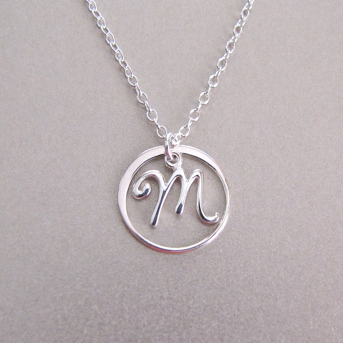circle script initial necklace personalized necklace