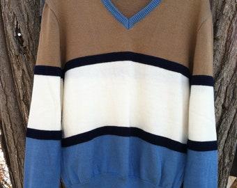 Men's Andrew St. John's color block vintage sweater