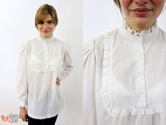 Vintage 60s Pin Striped Ruffled Baby Doll Top / 60s Mod Top