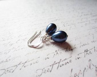 Navy Earrings, Navy Blue Earrings, Navy Blue Drop Earrings, Blue Teardrop Earrings, Made in Sweden, Swedish Jewelry Design