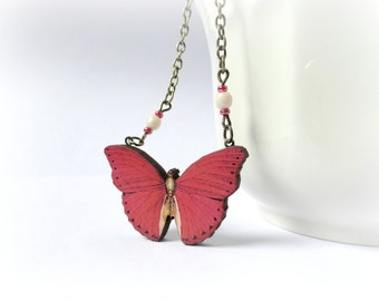 Red Butterfly necklace Wood pendant Strawberry Red white ivory black wings Gift for her Woodland jewelry Nature lover