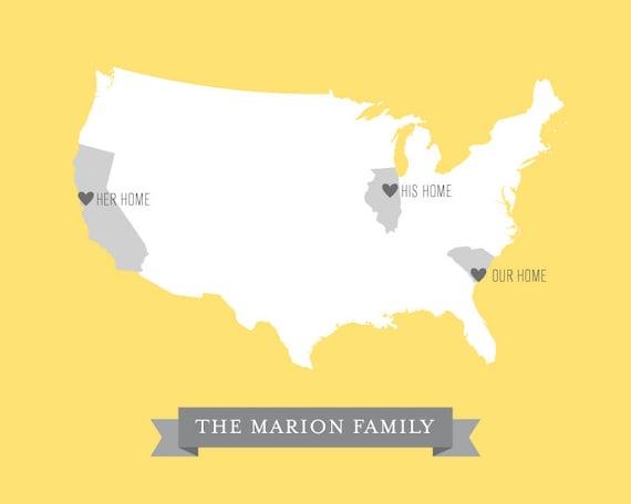 Wedding Gifts Usa: Custom Family US Map Art Print / Personalized Wedding Gift