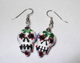 Glass Sugar Skull Earrings - Red, Black, Blue, Orange, Green, Purple, Yellow, Day of the Dead, Lampwork, Black - Great Gift