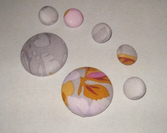 Seven fabric covered shank buttons 1 1/8 and 1/2 inch pink gray mustard floral