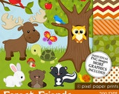 Forest Friends - Clip art and Digital paper set
